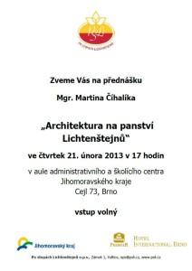 20130221 pozvánka Architektura panství Lichtenštejnů