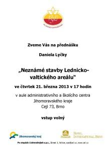 20130321  pozvánka Neznámé stavby Lednicko-valtického areálu, D. Lyčka, A5