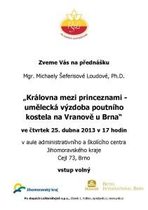 20130425  pozvánka Umělecká výzdoba poutního kostela ve Vranově u Brna, M. Šeferisová A5 v1