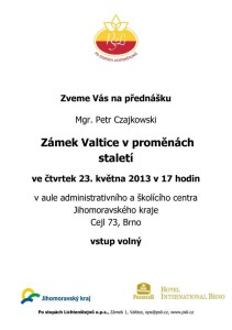 20130523  pozvánka Zámek Valtice v proměnách staletí, P.Czajkowski A5
