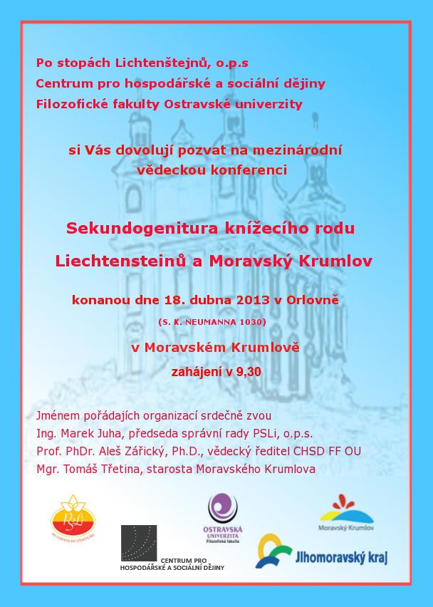 Pozvanka na mezinarodni konferenci Sekundogenitura knizeciho rodu Lichtenstejnu 20130418